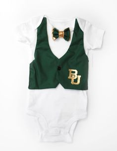 Oh my goodness--this is too cute! Baby Boy #Baylor University Bodysuit with Vest and Bowtie on Etsy