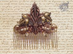 Steampunk Fleur De Lis wedding bridal hair comb - Copper and brass on gold coloured comb