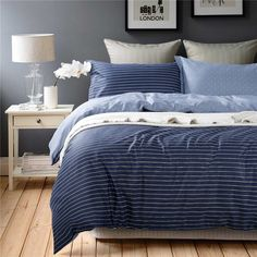 Simple Stripes Blue Bedding Set Teen Bedding Dorm Bedding Bedding Collection Gift Idea Blue Bedding Sets, Teen Bedding, Modern Bedding, Pillow Shams, Pillows, Home Decor Bedding, Beds Online, Flat Sheets, Bedding Collections