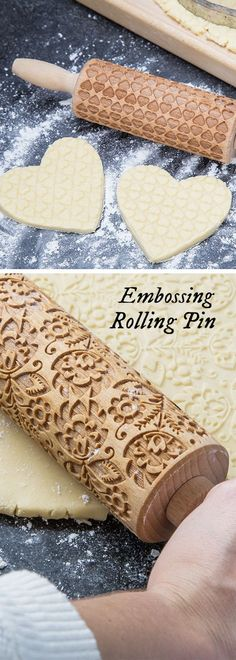 Baked goods with a professional touch. Roll these laser-cut, beech wood rolling pins over fresh dough. Their patterned grooves emboss baked goods, giving an ornate, professional-looking finish.: