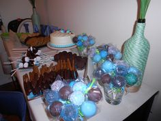 Dessert Table - DIY decor, wine bottle wrapped in twine ($1 clothesline), Dollar store flowers