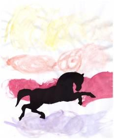 Horse Silhouette Art (variation) - use the free printable to make a stencil