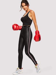 Shop Zip Fly Striped Side Leather Look Leggings online. SHEIN offers Zip Fly Striped Side Leather Look Leggings & more to fit your fashionable needs. How To Wear Leggings, Tight Leggings, Yoga Leggings, Leggings Style, Justice Leggings, Gym Style, Fashion News, Fashion Hub, Fashion Stores