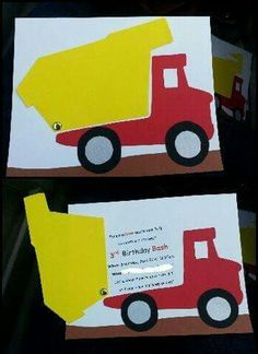 Boy birthday dump truck // okay so these might… Construction Party invitation. Boy birthday dump truck // okay so these [. Construction Party Invitations, Construction Birthday Parties, Construction Theme, Birthday Cards For Boys, 2nd Birthday Parties, Boy Birthday, Birthday Images, Birthday Ideas, Fathers Day Crafts