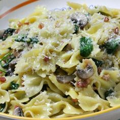 Farfalle with Spinach, Mushrooms and Pancetta