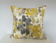 Yellow and Gray Modern Floral Pillow Cover Watercolor by Tanche