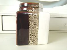 Pier 1 Imports Square Ceramic Canister Brown Tri-Color With Lid New With Tags