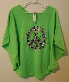 Girls Knit Works Green Batwing Kimono Top Size 10/12 Peace Sign Sequins #461 in Clothing, Shoes & Accessories, Kids' Clothing, Shoes & Accs, Girls' Clothing (Sizes 4 & Up) Back To School   eBay