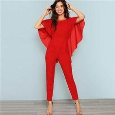 2b24691cad51 Red Backless Open Shoulder Solid Cape Jumpsuit. Cape JumpsuitJumpsuits For  WomenBoho ...