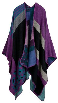 Ilishop Women's Plaid Pattern Wrap Shawl Poncho Cape Purple Free at Amazon Women's Clothing store: