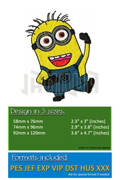 Minion Happy Birthday Machine Embroidery Design - 3 sizes Despicable