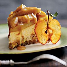 Caramel Apple-Brownie Cheesecake Recipe- great Halloween or Thanksgiving dessert.