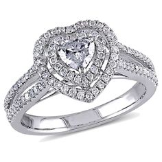 Allura .36 CT. T.W. Heart Shaped Diamond Ring with .39 CT. T.W. Diamond Accents in 14K White Gold (GH, Women's, Size: