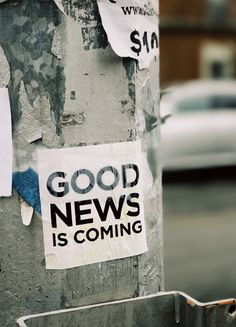 white Good News Is Coming paper on wall photo – Free Sticker Image on Unsplash