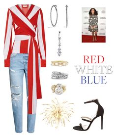"""Yara Shahidi"" by cheapchicceleb on Polyvore featuring Monse, David Yurman, Vintage, Tamara Mellon, CelebrityStyle, redwhiteblue and yarashahidi"