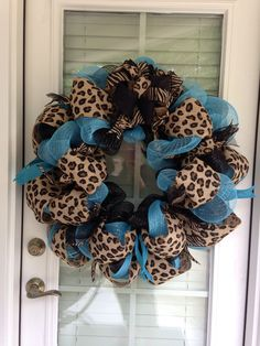 Animal print with teal deco mesh wreath