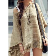 Fringe Hem Knit Cape - Lookbook Store