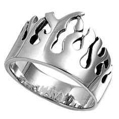 Rhodium Plated Sterling Silver Wedding & Engagement Ring Flame Ring 20MM ( Size 4 to 16) Double Accent. $47.99