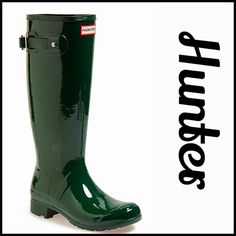 """HUNTER ORIGINAL RAIN BOOTS Gloss Tall Boots NEW WITH TAGS  RETAIL PRICE: $150  HUNTER ORIGINAL RAIN BOOTS Tour Gloss Tall Boots  * Buckle ankle strap & crisscross suede ankle/calf straps for the perfect fit  * Quick dry nylon lining & cushioned footbed  * Flexible rubber sole w/1"""" heel & 1/2"""" platform  * Pull on style  * Approx 15 3/4"""" shaft & 15"""" opening  * Easily rolled for packing  Color: Hunter Green Fabric: Waterproof rubber upper & sole  No Trades ✅ Offers Considered*✅  *Please use the…"""