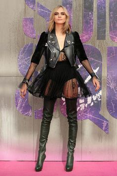 Cara Delevingne in Alexander McQueen & Christian Louboutin boots - London Sucide Squad