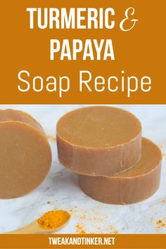 Turmeric Papaya Cold Process Soap - Tweak and Tinker This cold process soap recipe uses papaya, turmeric and essential oils to create a skin nourishing soap. Adding fresh ingredients is a great technique to spice up your handmade soap making. Handmade Soap Packaging, Handmade Soap Recipes, Handmade Soaps, Soap Making Recipes, Diy Soaps, Handmade Headbands, Packaging Ideas, Handmade Rugs, Handmade Crafts