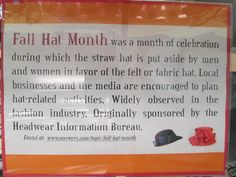 September 2014 - Fall Hat Month