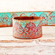 April Cuff Turquoise Southwest Bracelet Bohemian di rainwheel
