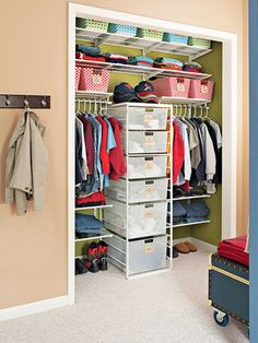 Take inventory of your kids' closets when reorganizing for a new season.    I love the design and organization of this closet.  Would really like to do this in the kids' rooms!