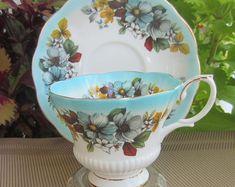 Royal Albert REFLECTION SERIES Blue Bone China Tea Cup and Saucer