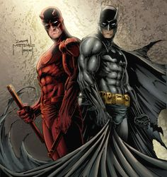 ✌ See you tomorrow for - Daredevil and Batman by Jason Metcalf and Jeff Balke Marvel Comics Superheroes, Marvel Vs, Marvel Heroes, Marvel Characters, Batman Vs, Batman Poster, Batman Stuff, Lego Batman, Spiderman