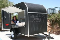 """TRAILER SPARK There aren't many businesses that encourage you to draw all over their """"walls,"""" but Nom Nom Nom The Good Food Truck is not your average mobile food business. The trailer is covered in chalkboard paint, beckoning customers to get as creative as their imaginations take them."""