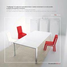 "Creatività ""Made in Italy"" - Chair Pull&Push by designer Flavio Scalzo (""Tira&Spingi"" due sedute in un unico arredo / ""Pull&Push"" is two chairs in one) Per info.. 1910@diciannovediecidesign.it"