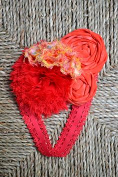 Red shabby puf, light red fabric rosette cluster with orange/red floral puff accents - READY TO SHIP
