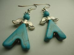 Dangle Earrings Symbolic Abstract, Blue Turquoise | eBay