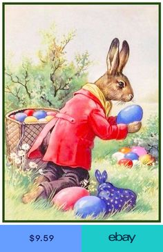 Vintage Easter Bunny Hiding Eggs Counted Cross Stitch or Counted Needlepoint Pattern Images Vintage, Vintage Cards, Vintage Postcards, Easter Art, Easter Crafts, Easter Eggs, Easter Bunny Pictures, Easter Illustration, Easter Greeting Cards