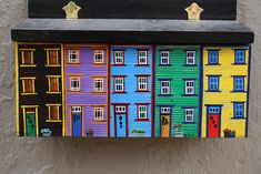 Newfoundland Hand Painted Mailbox. Could use a drawer with the inside painted like bldgs.