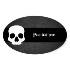 Cráneo blanco de Halloween en negro elegante y gri Calcomanías Ovales Personalizadas