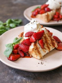 Grilled Angel Food Cake with Whipped Mascarpone and Balsamic. The perfect dessert for summer entertaining via www.domesticate-me.com