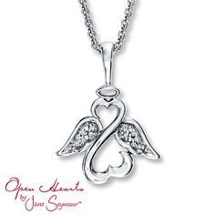 92d5da188 #KayBestMomEverSweeps 210996409 - Open Heart Angel Necklace Diamond  Accents… Sterling Jewelers, Angel Necklace