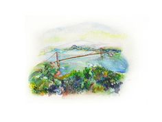 Printed 'San Francisco from Sausalito' Watercolor by MonicaAlisse
