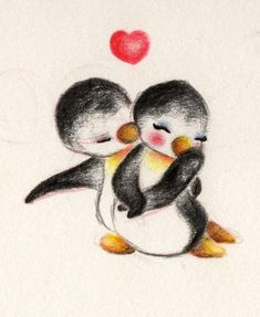 Penguin love by on deviantart love stuff penguin, drawing, deviant Penguin Drawing, Penguin Tattoo, Penguin Art, Penguin Sketch, Penguin Watercolor, Cute Penguins, Cute Drawings, Painting, Cute Pictures