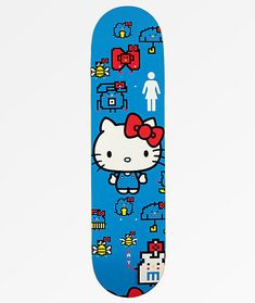 "Make sure you're the ""coolest cat"" at the park with the Girl x Hello Kitty Anniversary Malto Skateboard Deck. Moderate pitched kick tails create an excellent balance of ollie height and responsiveness, while the equally mid-level concave profil Skateboard Deck Art, Skateboard Design, Complete Skateboards, Cool Skateboards, Sean Malto, Skateboard Companies, Hello Kitty, Skate Decks, 60th Anniversary"