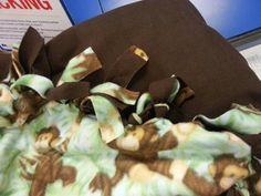 Felt brown & monkey baby blanket. Hand crafted