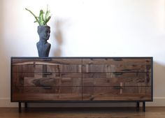 Created by KithandKinStore 'Walnut Patchwork Dresser in Blackened Steel Cabinet'   UNIQABODE