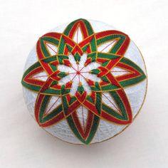 Christmas Temari Ball Ornament Japanese Thread Ball Handmade Holiday Decor Wrapped in a Take-Out Box. $30.00, via Etsy.