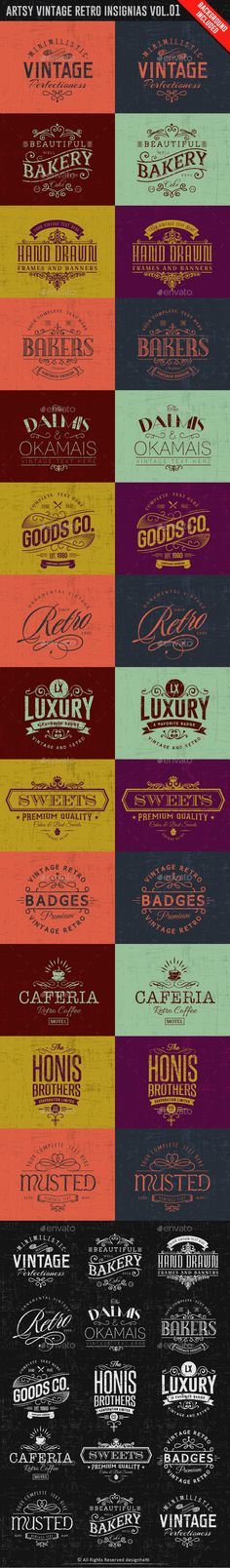 Artsy Vintage Retro Insignia and Logos Vol.01 - Badges & Stickers Template - Download Here : http://graphicriver.net/item/artsy-vintage-retro-insignia-and-logos-vol01/9945396?s_rank=23&ref=yinkira