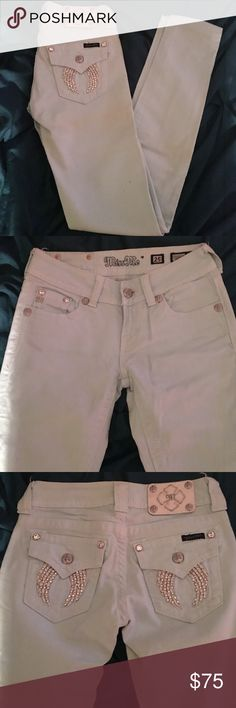 Miss me light blue aqua embellished skinny jeans New never worn too small have been in closet. Would fit size 1/2.                                                                           Make offers on anything willing to negotiate. 15% bundle discount on my site you can add for discount. Miss Me Jeans Skinny