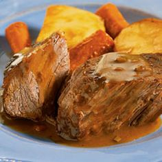 Campbell's(R) Slow Cooker Savory Pot Roast ■1 (10.75 ounce) can Campbell's® Condensed Cream of Mushroom Soup (Regular, 98% Fat Free or Healthy Request)  ■1 (2 ounce) pouch Campbell's® Dry Onion Soup and Recipe Mix  ■6 small red potatoes, halved  ■6 medium carrots, cut into 2-inch pieces  ■1 (3 pound) boneless beef bottom round roast or chuck pot roast