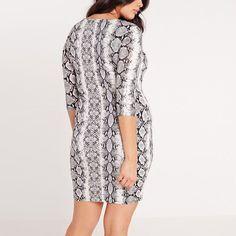 Plus Size Snake Skin Print V-neck Dress Bodycon Dress