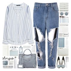 """""""#860 Stripes."""" by giulls1 ❤ liked on Polyvore featuring Glamorous, Jeffrey Campbell, Balenciaga, Zara, Erdem, Valentino, Michael Kors, Native Union, Hershesons and Jil Sander"""